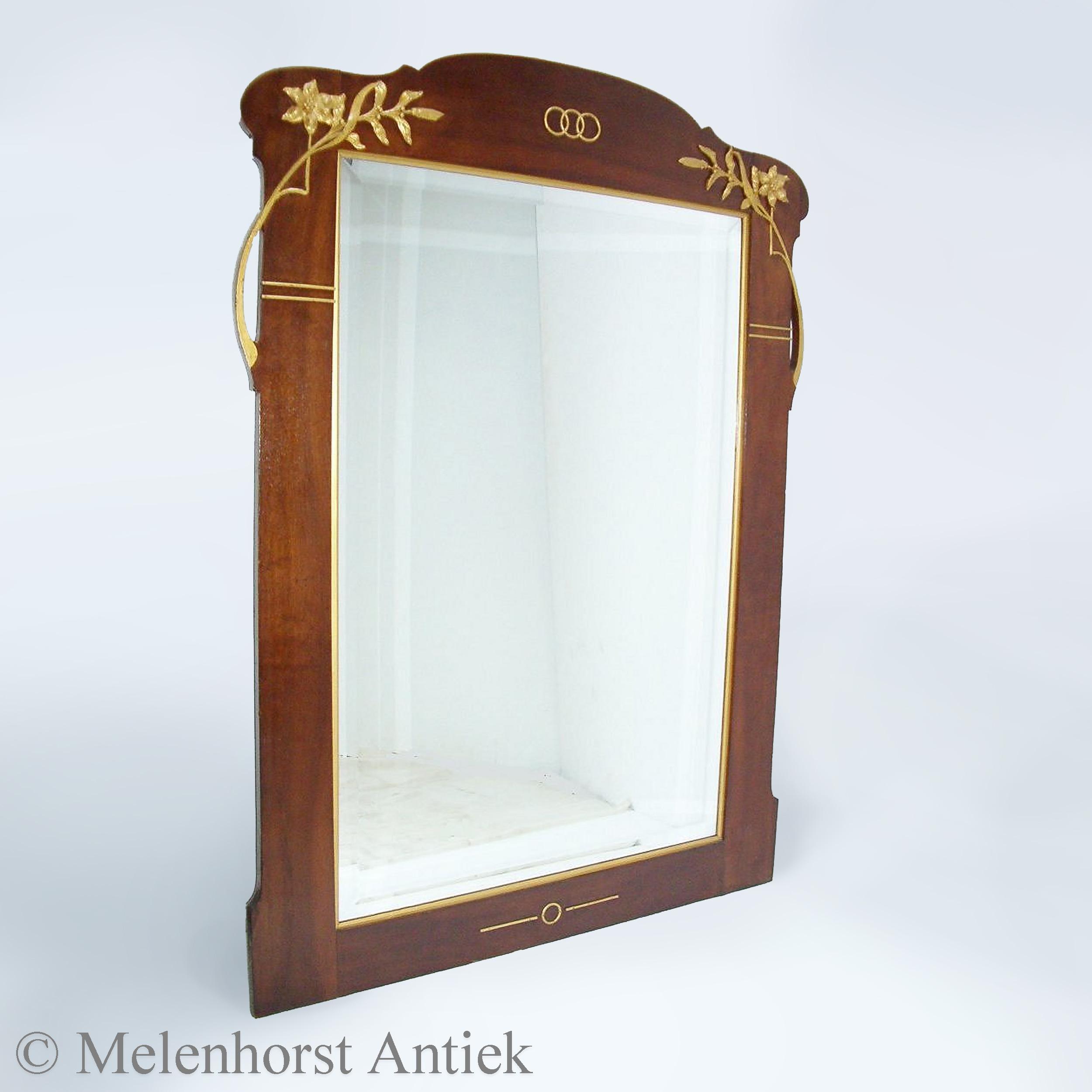 Franse art nouveau spiegel