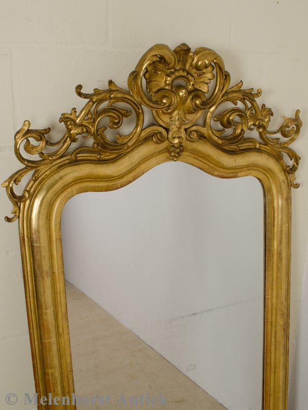 Antieke Franse spiegel met kuif