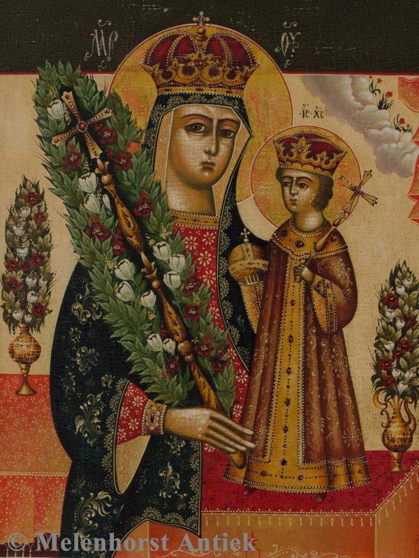 Icoon moeder God de niet verwelkende roos