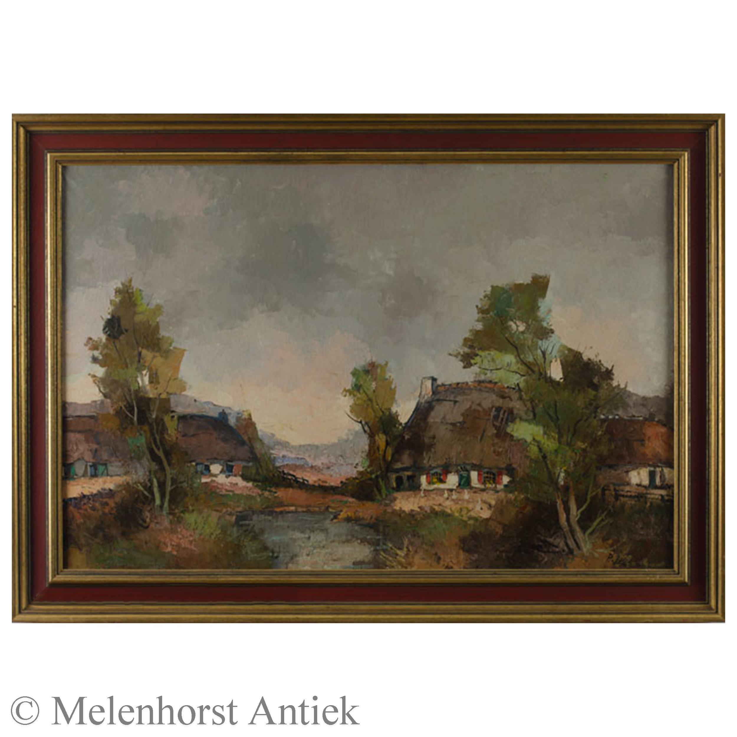 P. Vosman - Landschap met boerderijen