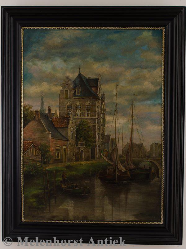 Schilderij 'Zicht op Haven'