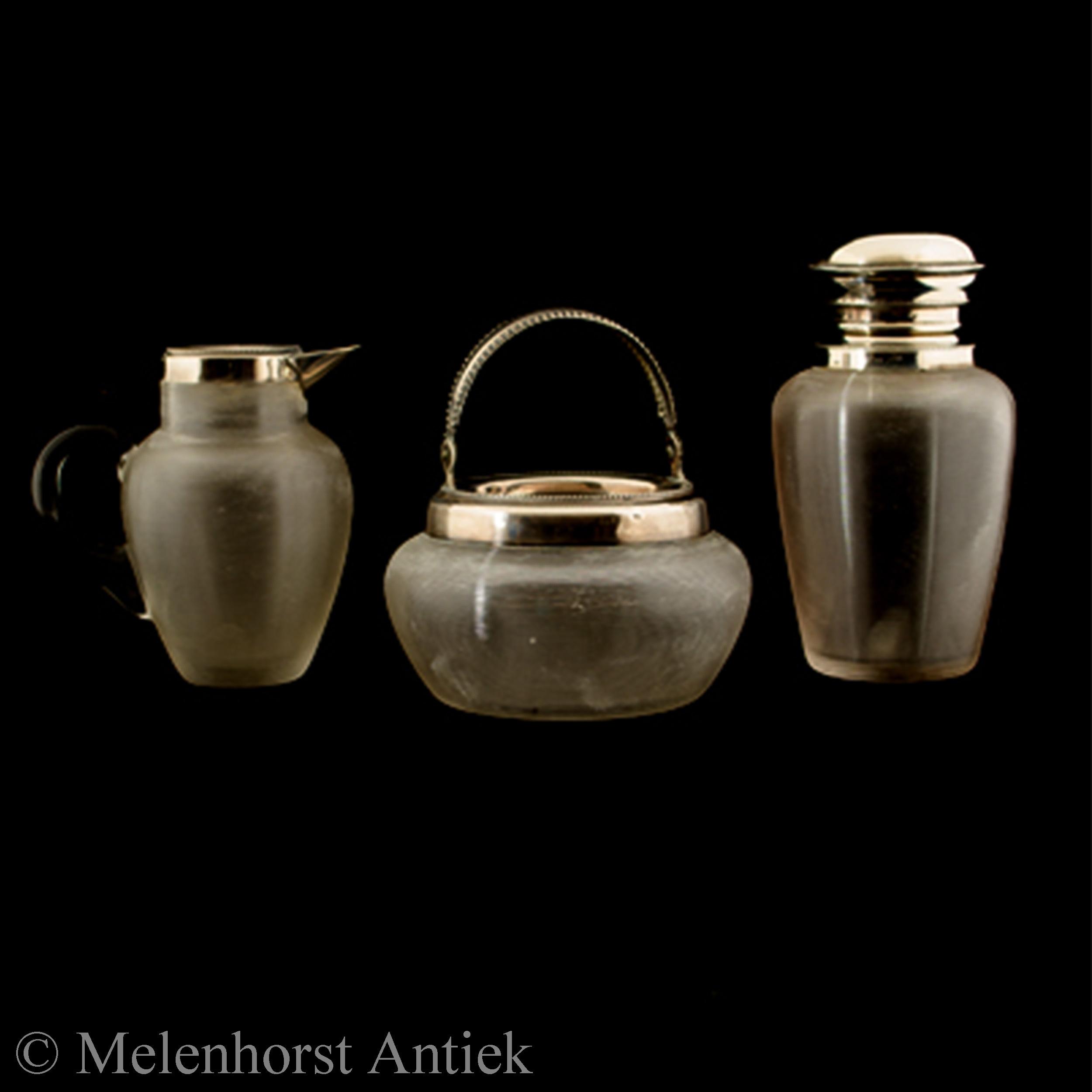 Roomstel - zilver met draadglas