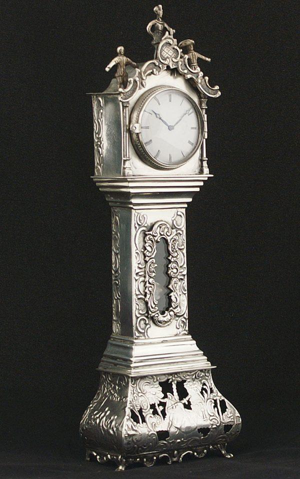 Zilveren miniatuur staand horloge