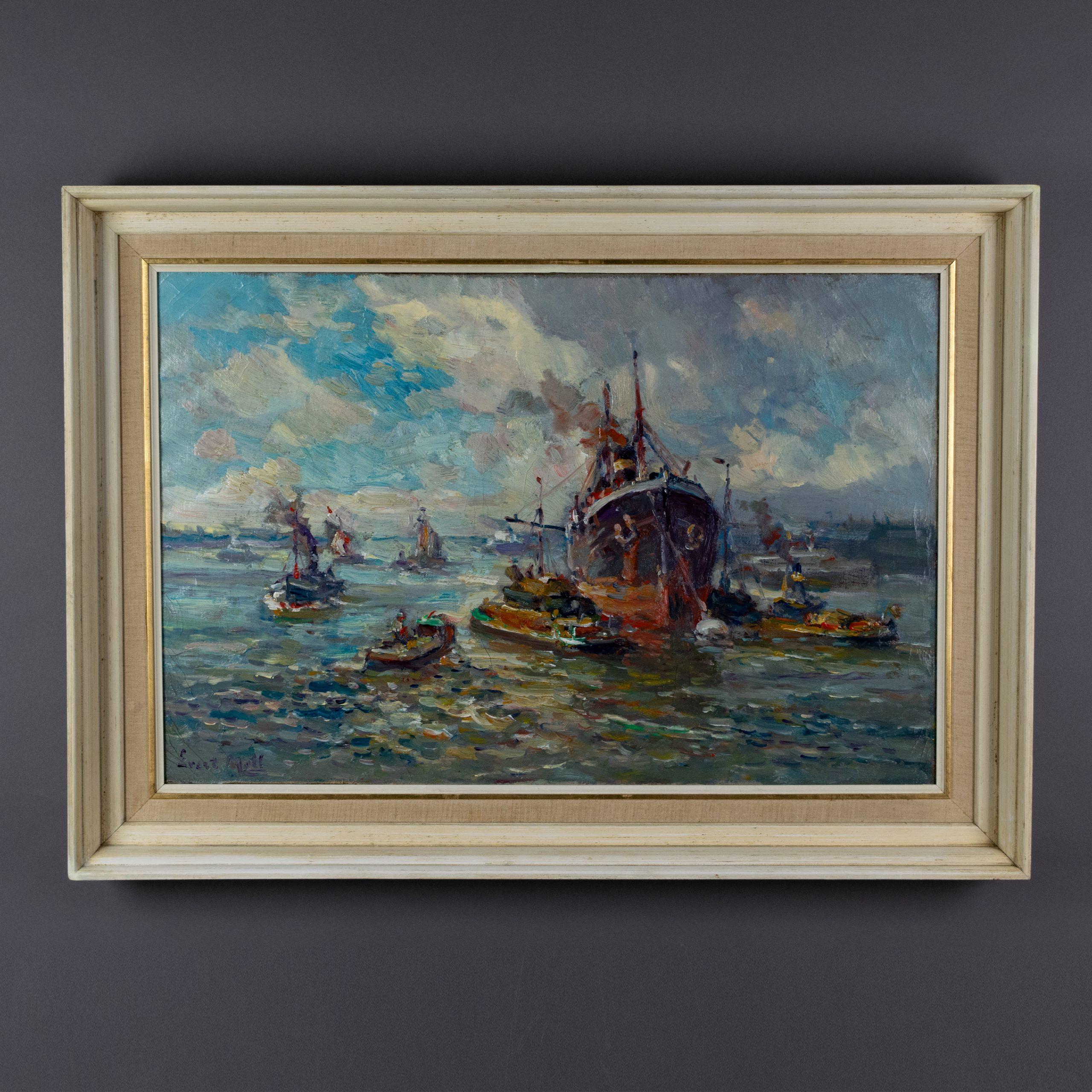 Evert Moll - Stoomschip en sleepboten